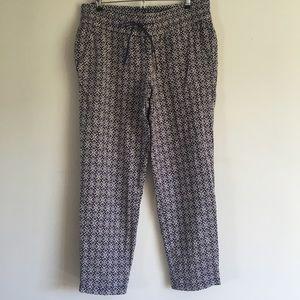 LOFT Blue/White Linen Marisa Pants